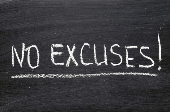 No Excuses written on a chalkboard - Image credit: blog.lifesum.com
